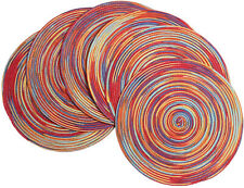 New listing 6 Pcs Round Braided Place Mats Woven Washable Dining Kitchen Tables Rainbow Red
