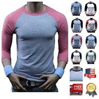 Men T-Shirt 3/4 Sleeve Baseball Tri-Blend Casual Slim Crew Neck Raglan Plain Tee