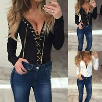 Women Sexy V-Neck Slim Blouse Pullover Solid Long Sleeve Metal Chain Decor Top