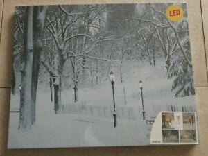 LED Bild beleuchtete Winterlandschaft Leinwand 50 x 40 cm NEU