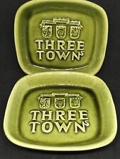 2 Vintage THREE TOWNs  Green Glazed Pottery Dishes or Ashtrays ~ Made in Sweden