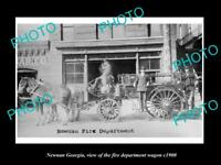 OLD LARGE HISTORIC PHOTO OF NEWNAN GEORGIA, THE FIRE DEPARTMENT WAGON c1900