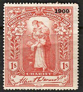 2001 1s Scarlet. Cinderella. Prince Of Wales Hostpital Fund 1900 Ovpt. Unusual.