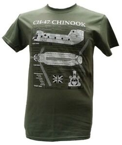 Chinook CH-47 Helicopter British/US Army Military T Shirt With Blueprint Design.