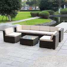 Magic Union Patio Rattan Wicker Outdoor Furniture Sectional 7-Piece Sofa Set