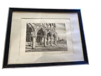 Print On Silk Italian Doge's Palace San Giorgio Maggiore Signed Framed & Matted