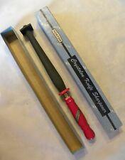 Vintage Norton Crystolon Red Wood Handle Knife Sharpener Sharpening Stone w/Box