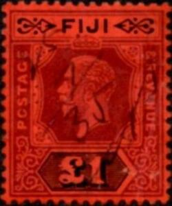 Fiji 1914 George V  £1 Purple & Black on Red Paper Die II  SG.137a Fiscally Used