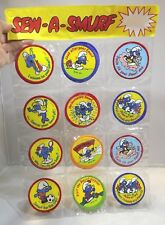 Vintage 1970s Complete Peyo Display Trade Pack of Smurf Fabric Badges 12 Designs