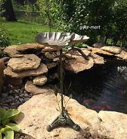distressed verdigris shabby IRON vintage chic Bird Bath feeder outdoor statue