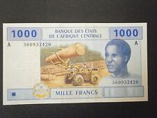 1000 CFA Franc Banknote Central African States Letter A Gabon UNC Condition 2002