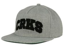Crooks & Castles CRKS Logo Gray Snapback Flat Bill Style Adjustable Cap Hat