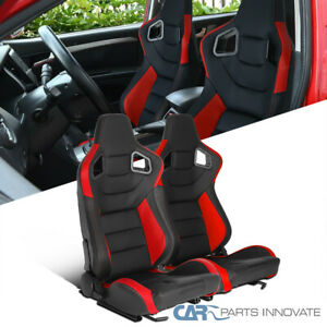 Black/Red PVC Leather Carbon Fiber Look Reclinable Racing Seats w/ Sliders L+R