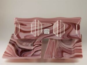 Judy Brittain OPAL ART GLASS SET slumped style in pink /brown. large 39cm long
