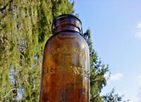 LARGE AMBER  LIGHTNING FRUIT JAR PUTNAM  PATENTED APRIL 25 1882
