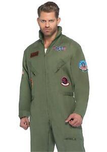 Leg Avenue Men's Top Gun Flight Suit Costume, Khaki/Green, Size Small / Medium