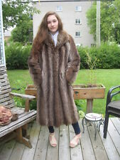 #16 WOW WHAT A NICE ONE  women sweet brown raccoon fur coat size 8/9