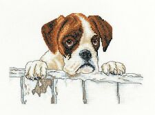 HERITAGE CRAFTS BAILEY BOXER DOG COUNTED CROSS STITCH KIT VILLAGER JIM DESIGN