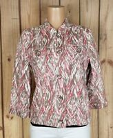 CHICO'S Womens Size 1 3/4 Sleeve Button Down Geo Print Lightweight Cotton Jacket