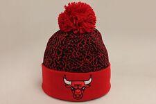 Chicago Bulls Crack Pattern Black Red Mitchell & Ness Pom Knit Skully NEW NWT