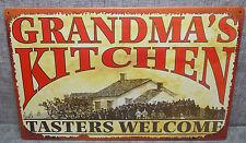 "Vintage Look Tin Metal ""Grandmas Kitchen Tasters Welcome"" 10""X16"" Old Style Sign"