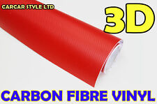 【Red 300mm x 1520mm】 Carbon Fibre Wrap Vinyl Sheet Sticker For Car Kitchen Boat