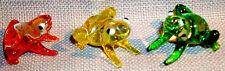 "Frog ArtGlass figurine MINI 1"" HERE AS CHUBBY BULLFROG assortd colors 6 pcs."