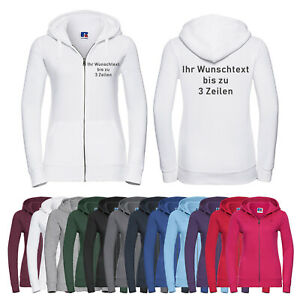 Russell Damen-Hoodiejacke Kapuzenjacke auf Brust + Rücken bestickt 14 Farben