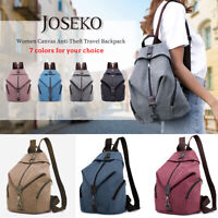 JOSEKO Women Canvas Backpack School Rucksack Travel Shopper Shoulder Bag