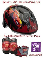 Disney CARS BIKE HELMET+Safety GLOVES+ELBOW+KNEE PAD SET Scooter Skates Toddler