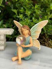 Miniature Dollhouse Fairy Garden Figurine ~ Fairy Girl w/ Gazing Ball Orb ~ New