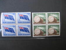 NEW ZEALAND 1960 PICTORIALS 9d &1/- VALUES  IN BLOCKS 4 NHM  SG790/1