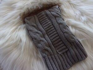 Gray Cable Knit Fur Trim Dog Sweater XS S M L new pet Bond & Co xxsmall Large