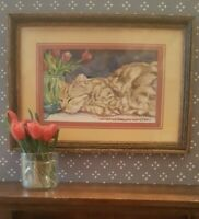Dollhouse miniature framed print of cat w/tulips, Catherine Darling Hostetter