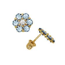 14K Solid Yellow Gold Blue Aquamarine CZ Flower Stud Earrings Screw Back