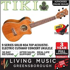 NEW Tiki Solid Koa Top Electric Cutaway Concert Ukulele w/ Hard Case (Satin)