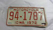 Vintage 1972 Iowa Motorcycle License Plate