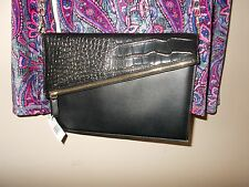 "NWT Black Crossbody Medium Clutch Magnetic Snap Closure with Top Zip 23"" Drop"
