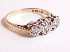 Vintage 18ct Gold & Diamond Trilogy Ring  Size L