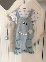 George Baby Boy Blue Dinosaur Dungarees And Top 2 Piece Set New 6-9 M