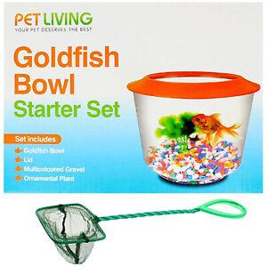Goldfish Bowl Starter Kit with Gravels Stones and Fish Catching Net Orange Blue