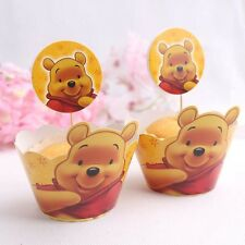 24 PCS WINNIE THE POOH CUPCAKE TOPPERS & WRAPPERS / PARTY SUPPLIES/ BIRTHDAY