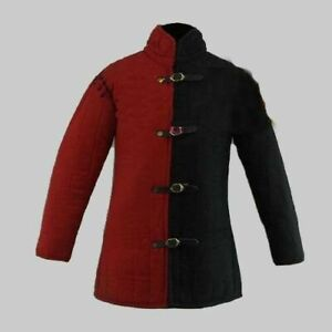 Black-amp-Red-Medieval-Thick-Padded-Gambeson-Jacket-COSTUMES-DRESS-SCA