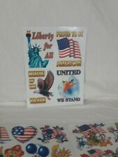 Patriotic Lot USA Flag Sticker Window Cling Decal Postcard etc United States B22