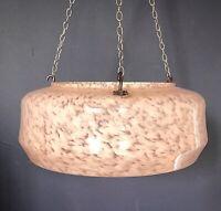 Rare Art Deco 1930s marbled effect glass pendant ceiling light shade flycatcher.