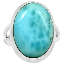 Larimar - Dominican Republic 925 Sterling Silver Ring Jewelry s.6 LRIR654