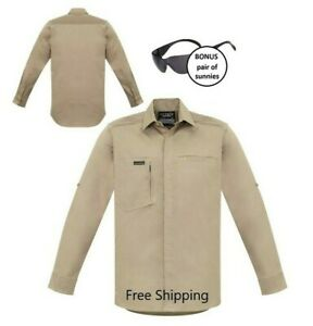Mens Streetworx L/S Stretch Work/casual Shirt - Khaki - PLUS free sunnies