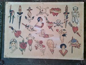 RARE ORIGINAL VINTAGE HAND PAINTED 1920s BOWERY TATTOO FLASH SHEET