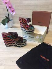 MISSONI Scarpe peep toe plateau tacchi alti sandali EU39 UK6 Rainbow RRP £ 450