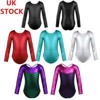 UK_Kids Long Sleeve Metallic Gymnastics Bodysuit Girls Ballet Leotard Dancewear